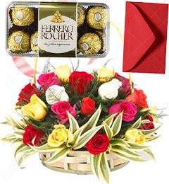 Mix Roses Basket N 16 Ferrero Rocher Chocolate Gift