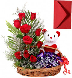 Gifts of Red Roses basket n Chocolate n Teddy Bear