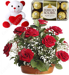 Gifts of Red Roses basket n ferrero rocher chocolate n Teddy Bear