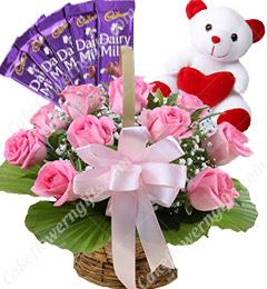 Gifts of Pink Roses basket n ferrero rocher chocolate n Teddy Bear
