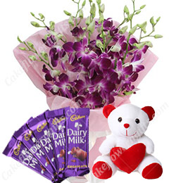 Gifts of Orchids Bouquets n chocolate n Teddy Bear