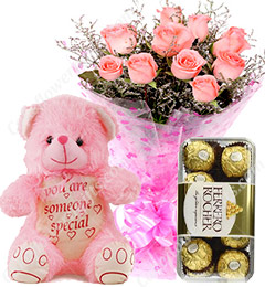 Gift of 10 Pink Roses Bouquets Ferrero Rocher Chocolate Teddy Bear