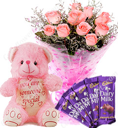 Gift of 10 Pink Roses Bouquet Chocolate Teddy Bear