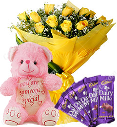 Gift of 10 Yellow Roses Bouquet Chocolate Teddy Bear