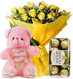 Gift of 10 Yellow Roses Bouquets Ferrero Rocher Chocolate Teddy Bear