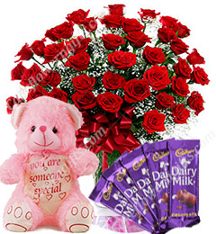 Gift of 20 Red Roses Bouquets Chocolate Teddy Bear