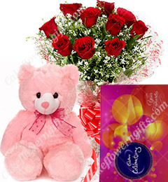 Gift of 10 Red Roses Bouquets cadbury celebrations Teddy