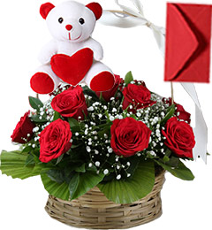 Red Roses Basket n Teddy