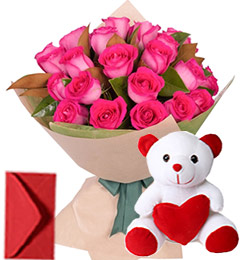 20 Pink Roses Bouquet N Teddy
