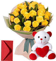20 Yellow Roses Bouquet N Teddy
