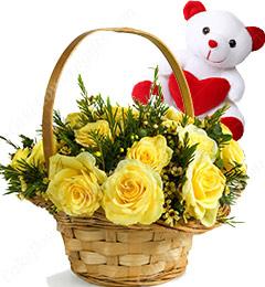 15 Yellow Roses Basket n Teddy