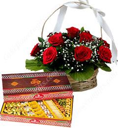 Gift of 1Kg Assorted Sweet Box n Roses Basket