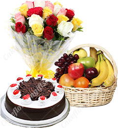 Fresh Fruits Gift Basket n Roses Bouquet n Cake