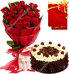 Red Rose Bouquet and 500gms Black Forest Cake Card