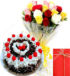 Eggless Black Forest Cake with Mix Roses Bunch Card