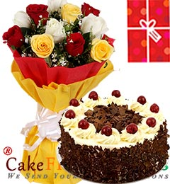 1Kg Black Forest Cake Roses bouquet n Greeting Card