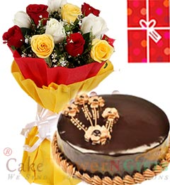 1Kg Chocolate Truffle Cake Roses bouquet n Greeting Card