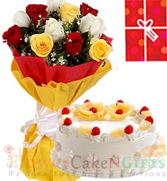 1Kg Pineapple Cake Roses bouquet n Greeting Card