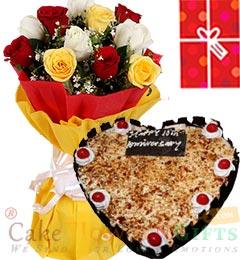 1Kg Butterscotch Heart Shape Cake  Roses bouquet n Greeting Card