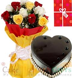 1Kg Chocolate Truffle Heart Shape Cake Roses bouquet n Greeting Card