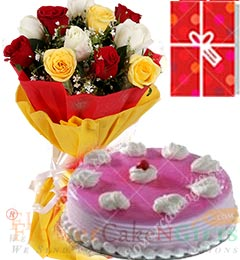 1Kg Strawberry Cake 10 Mix Roses bouquet n Greeting Card