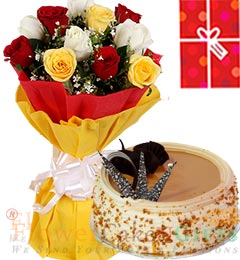 Eggless 1Kg Butterscotch Cake 10 Mix Roses bouquet n Greeting Card