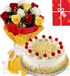 Eggless 1Kg White Forest Cake 10 Mix Roses bouquet n Greeting Card