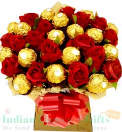 Roses N Ferrero Rocher Chocolate Bouquet