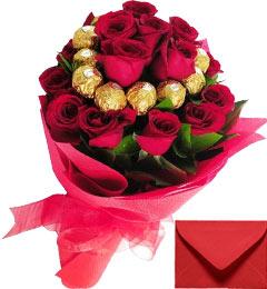 16 Red Roses Bouquet N 16 Ferrero Rocher Chocolates Bouquet