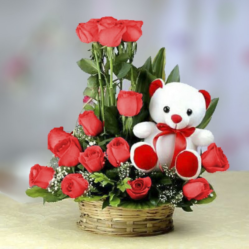 Red Roses Bouquet N Cute Teddy