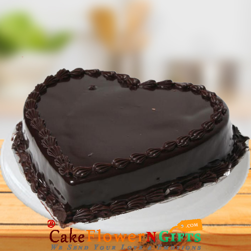 1Kg Chocolate Truffle Heart Shape Cake