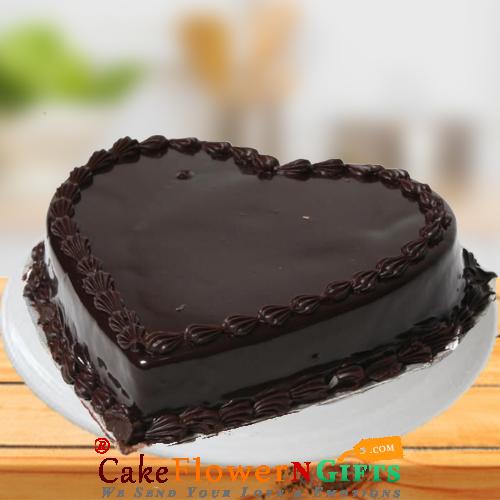 Half Kg Heart Shaped Chocolate Truffle Cake
