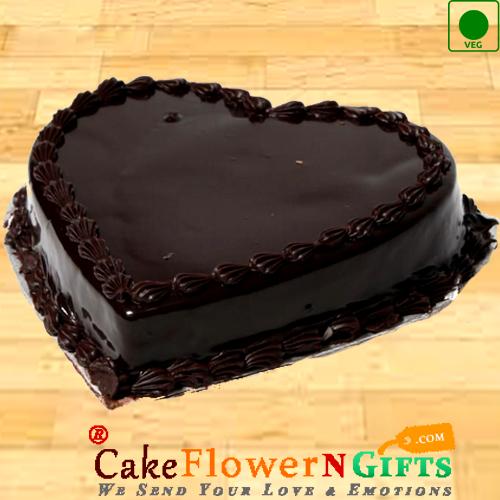 Half Kg Heart Shaped Chocolate Truffle Eggless Cake