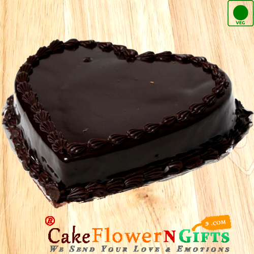 1Kg Heart Shaped Chocolate Truffle Eggless Cake