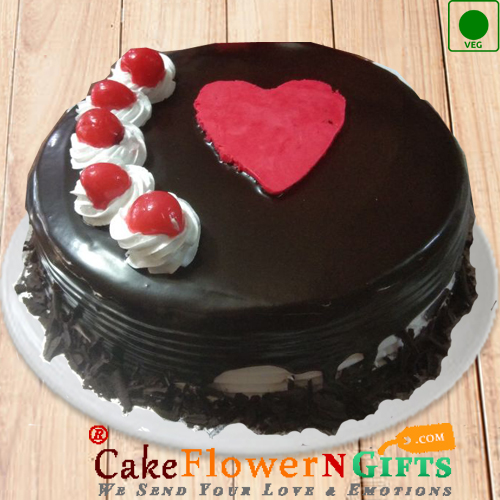 1kg Heart Touching Black Forest Eggless Cake