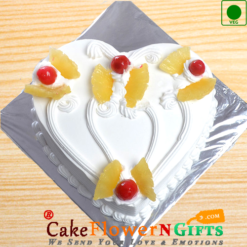 Half Kg Heart Shape Pineapple Eggless Cake