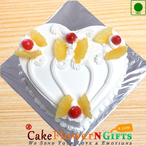 1Kg Heart Shape Pineapple Eggless Cake
