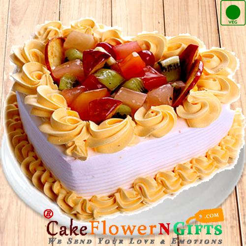 Half kg Fruit Heart Shape Eggless Cake