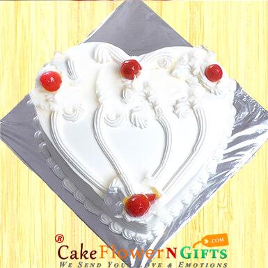 1Kg heart shaped vanilla cake