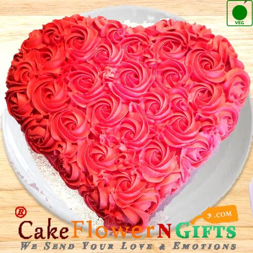 1 kg Eggless Heart Shaped Rose Chocolate Cake
