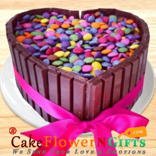 Half Kg Eggless KitKat Gems Chocolate Heart Shaped Cake
