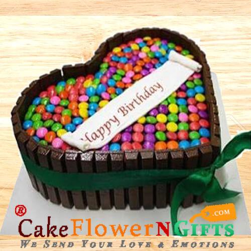 1Kg Eggless KitKat Gems Chocolate Heart Shaped Cake