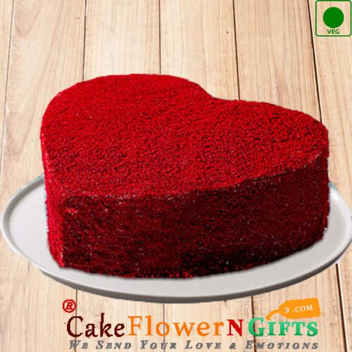 Half kg Eggless Red Velvet Cake Heart Shape