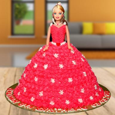 2kg Barbie Doll Cake  Black Forest