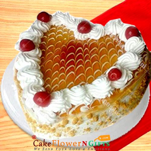Half kg butterscotch heart shape cake