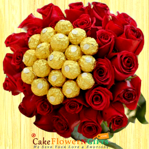 Red Ferrero Rocher Chocolates n Red Roses Bouquet
