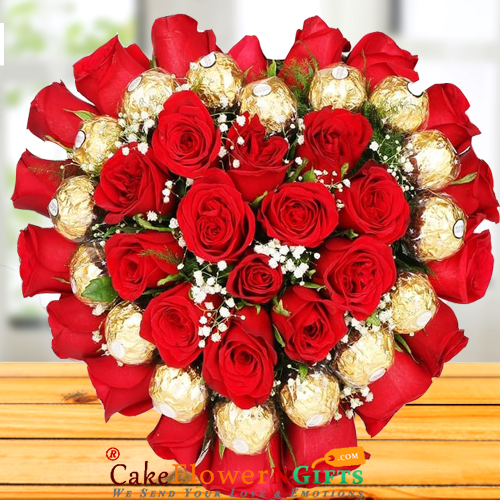 Heart Shape Roses Ferrero Rocher Chocolates Bouquet