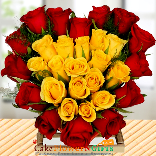 A Heart Shape Arrangement of 15 Red and 15 Yellow Roses
