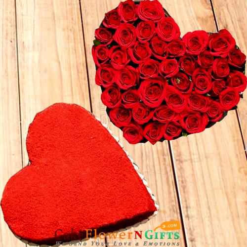 half kg red velvet shaped cake n heart shaped arrangement of roses