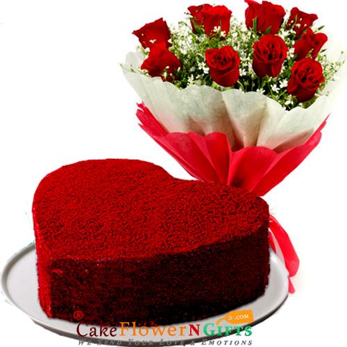 half kg heart shaped red velvet cake n roses flower bouquet